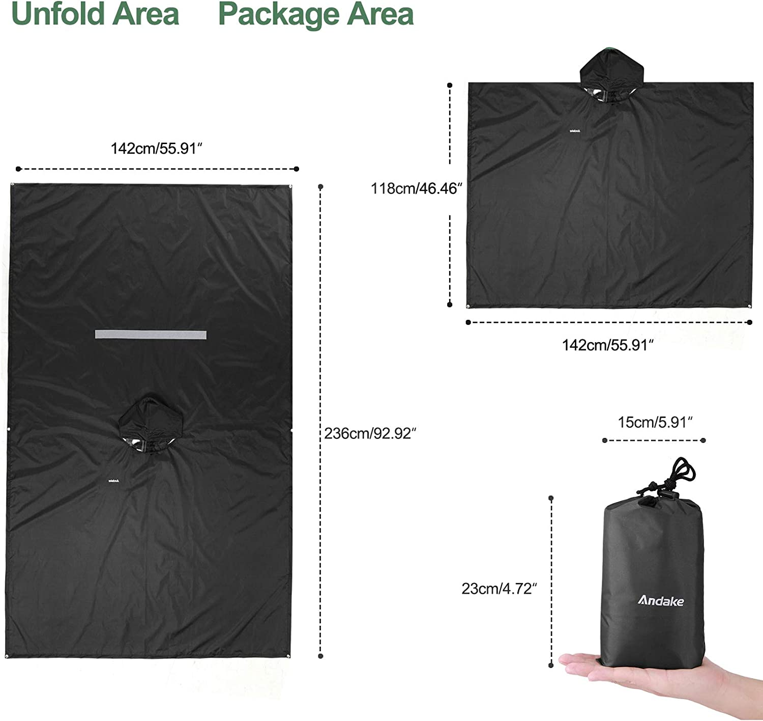 Hiking Women Men Unisex Raincoat Waterproof Windproof Anti-Wrinkle Reusable Poncho for Camping Outdoor and Daily use. Andake Rain Poncho