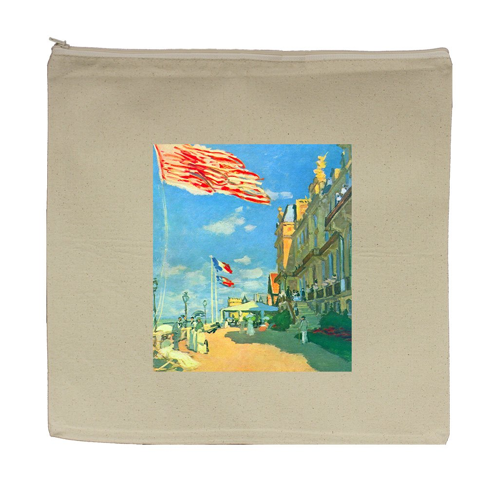 Hotel Roches Noires Trouville #2 (Monet) Canvas Zipper Tote Bag Makeup Bag