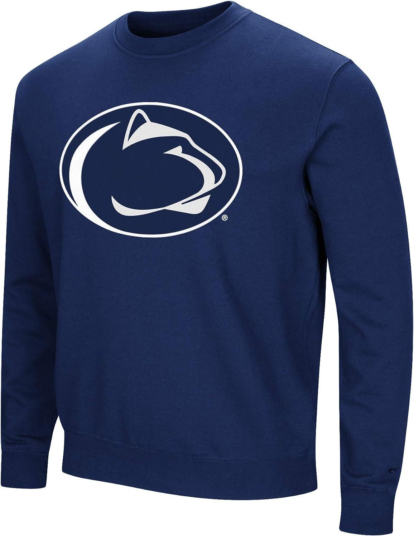 Playbook Colosseum NCAA Mens Crewneck Fleece Sweatshirt Tackle Twill Embroidered Lettering-Team Colors