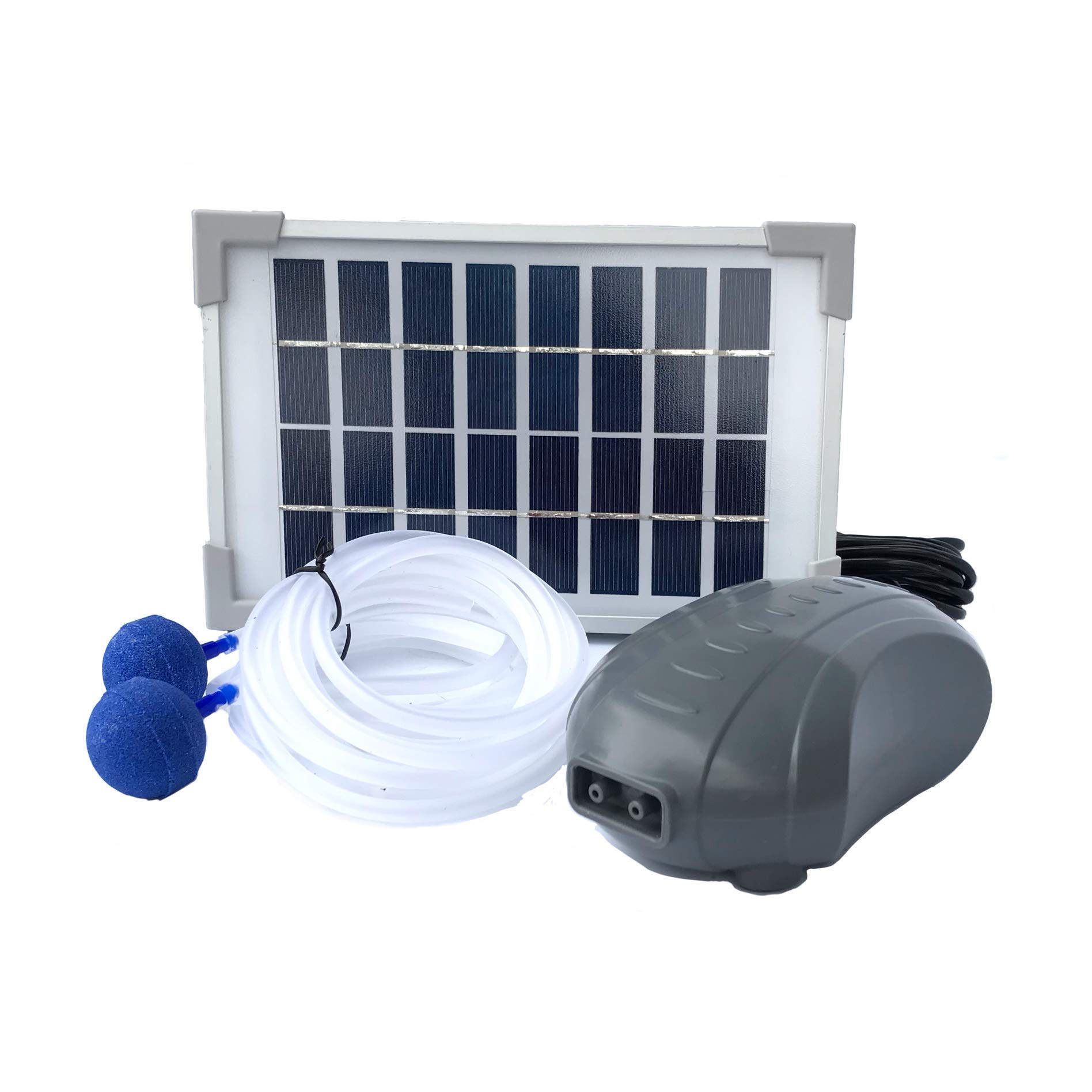 AEO Solar Powered Air Pump Kit, Two Airing Stones, 3LPM Air Pump & 2.5W Solar Panel for Fish Pond, Aquaculture, Hydroponics, Bubbleponics by AEO