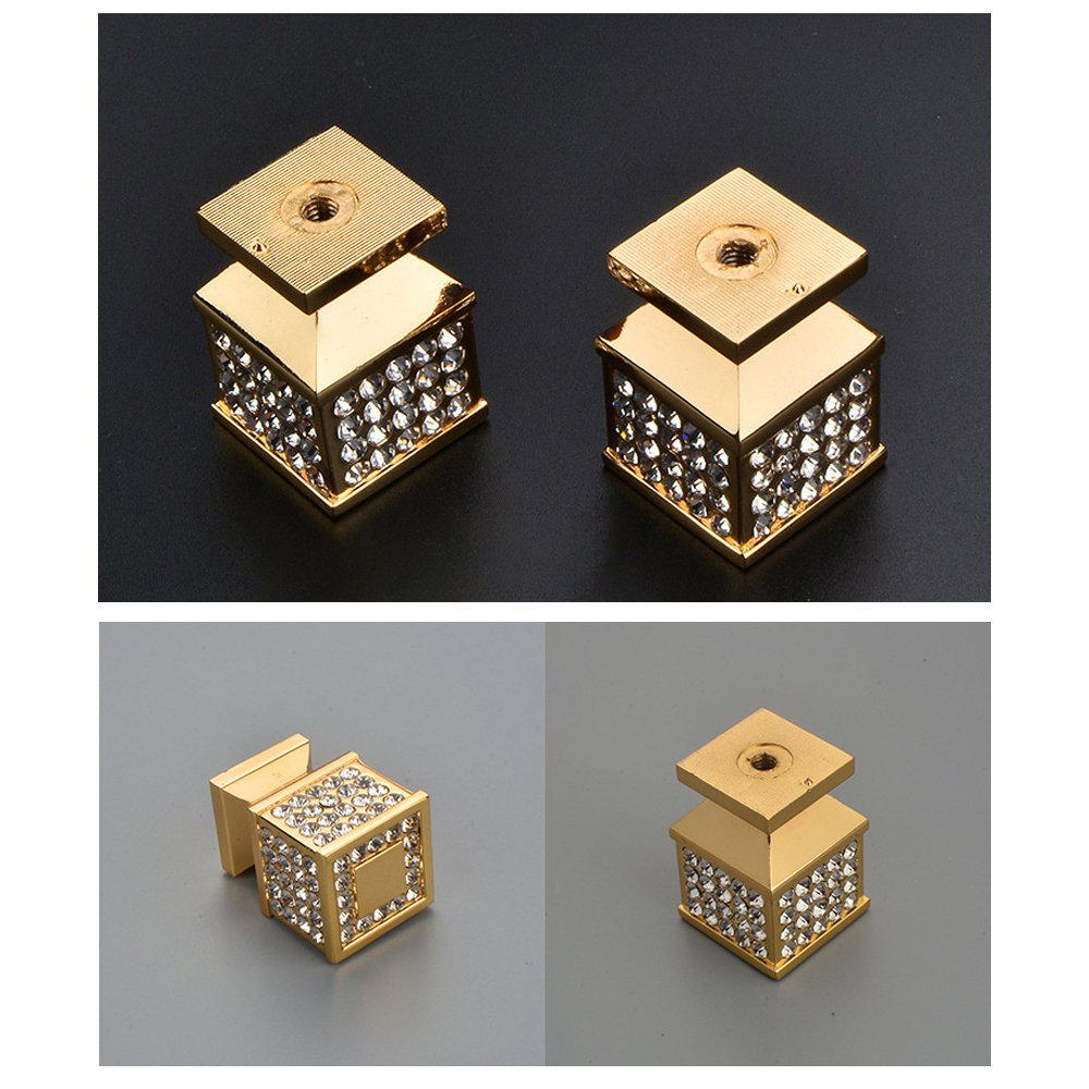 Zhi Jin 2Pcs Square Crystal Cabinet Knob Handle Bling Drawer Knobs Pulls Furniture Decoration Silver by ZHI JIN (Image #4)
