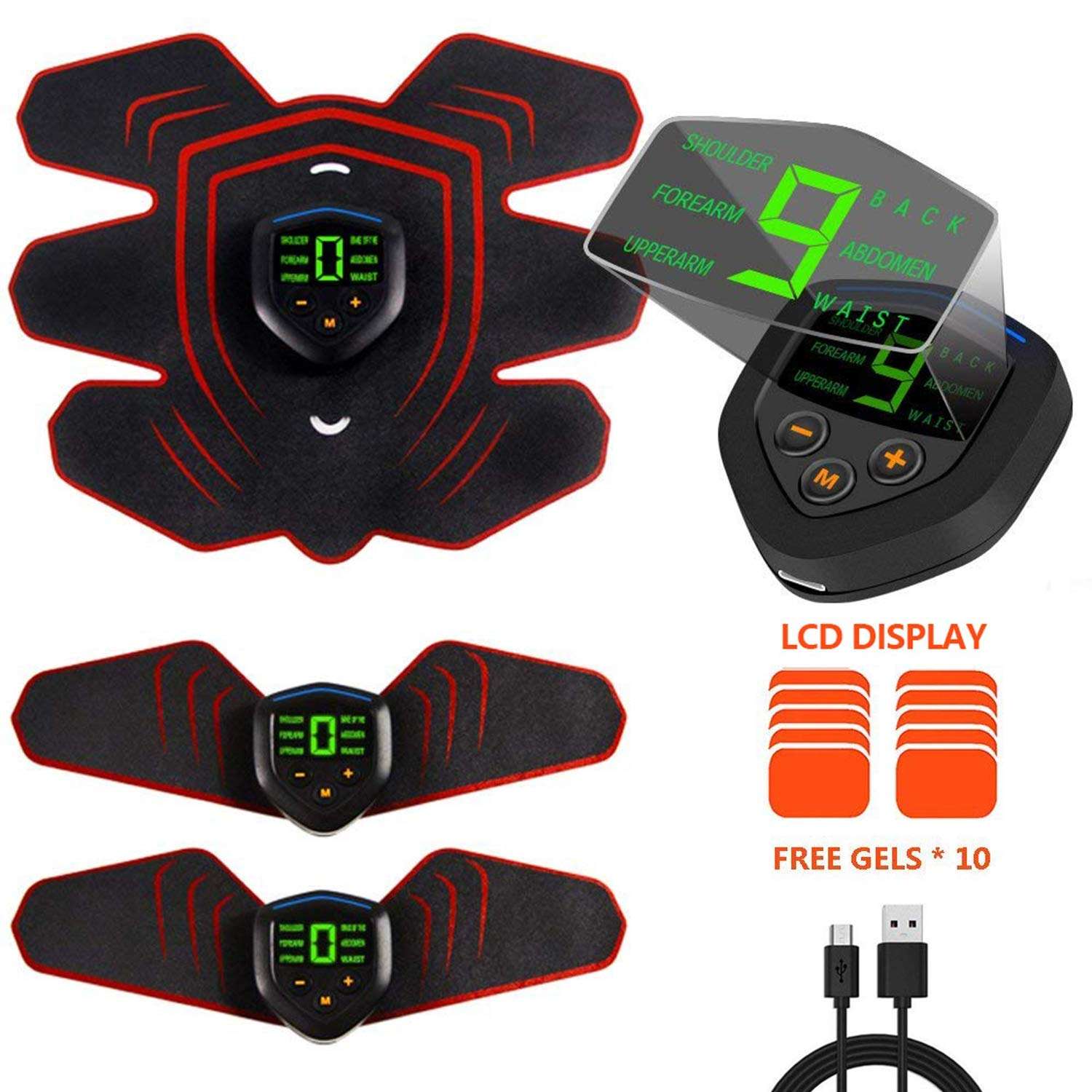 ABS Stimulator Muscle Toner Rechargeable, EMS Abdomen Muscle Trainer with 6 Modes 10 Levels, Muscle Toner Toning Belt for Men Women, Free 10pcs Gel Pads Included by Makoya (Image #2)