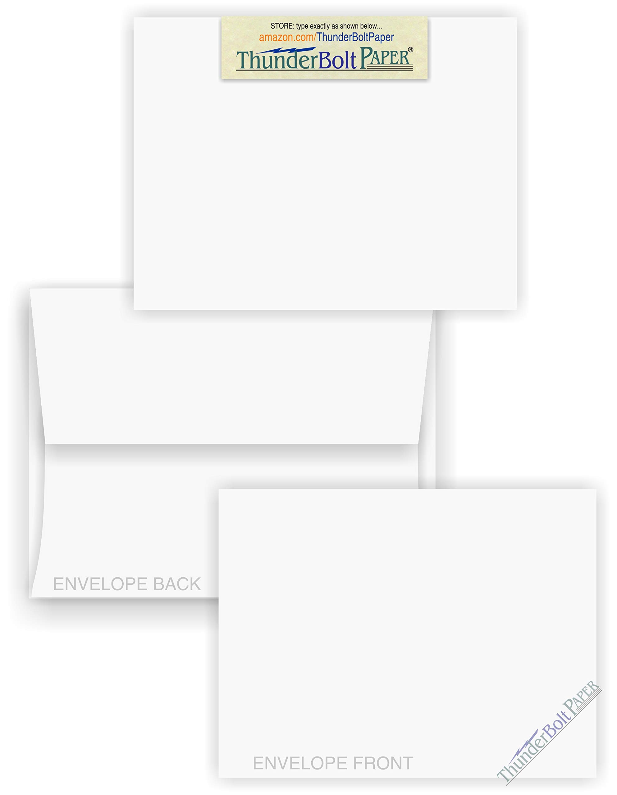 5X7 Blank Cards with A-7 Envelopes - Smooth Bright White - 75 Sets - Silky Finish - Invitations, Greeting, Thank Yous, Notes, Holidays, Weddings, Birthdays, Announcements - 80# Cardstock