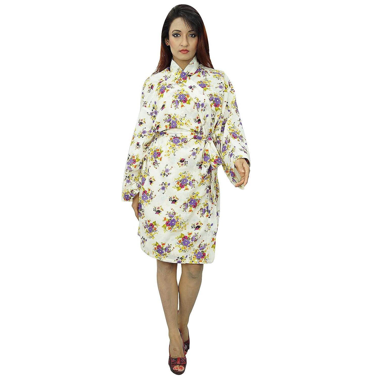 9877353fee Kimono Indian Crossover Robe Cotton Floral Robes Bride Spa Getting Ready  Wedding  Amazon.co.uk  Clothing