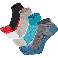 VWELL Men's Toe Socks Cotton Crew Five Fingers Socks Low Cut Running Athletic Socks 4 Pairs Size 8-11