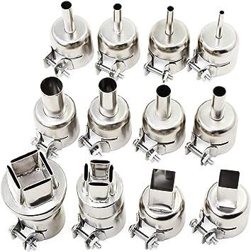 boquilla resistente a boquillas herramienta para estaci/ón de soldadura de aire caliente serie 850 pistola de calor universal HSeaMall 12 boquillas de acero inoxidable para pistola de aire caliente