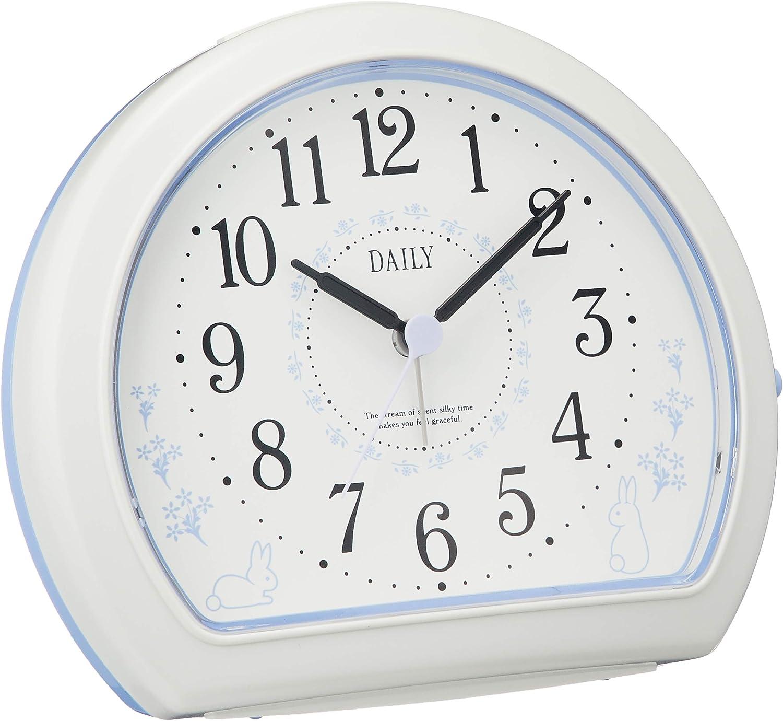 リズム時計 クォーツ 目覚まし時計 アナログ デイリー R550 電子音 うさぎ 柄 白 DAILY (デイリー) 4SE550DN12
