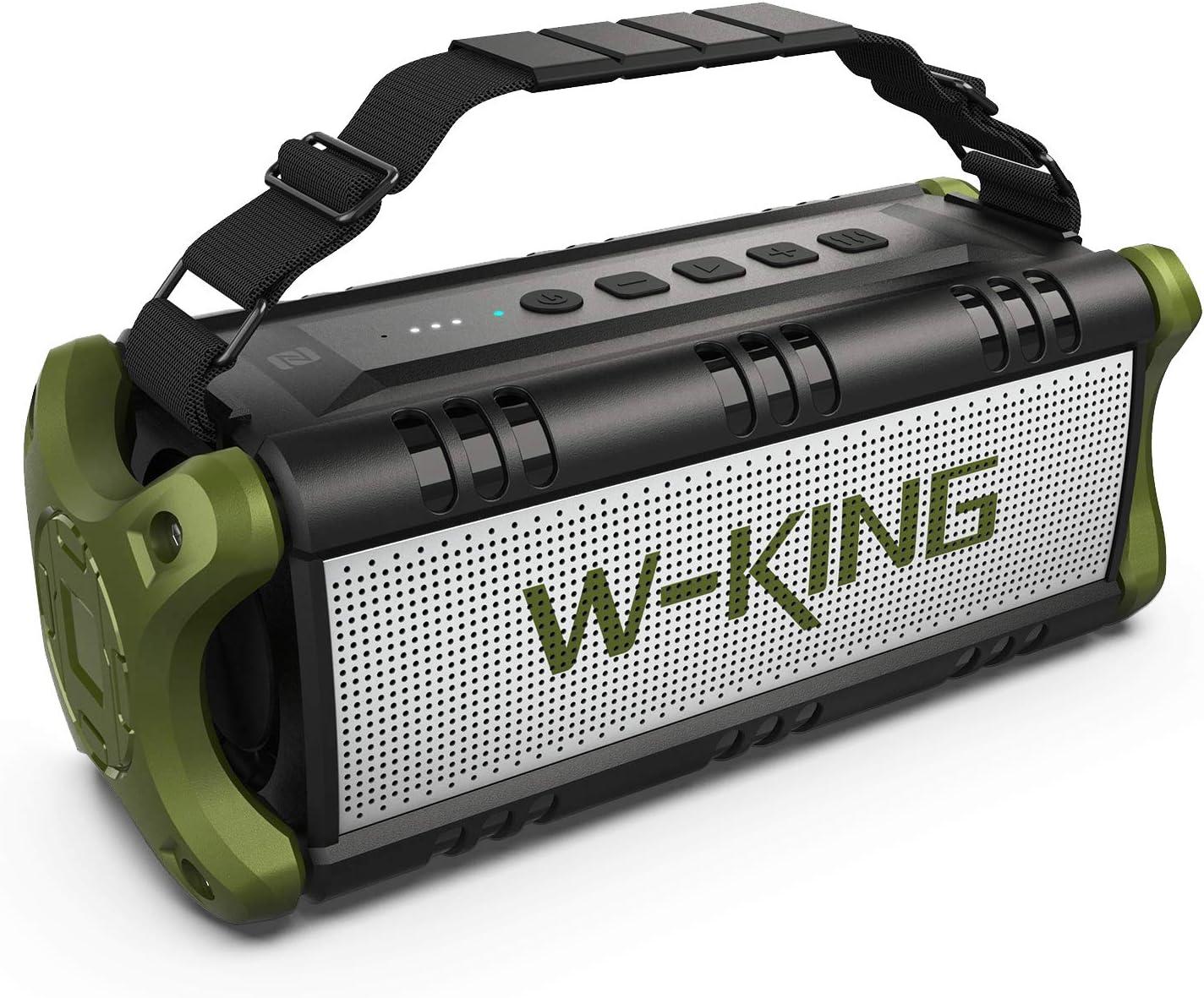 Altavoces Bluetooth 50W(70W Pico), W-KING Altavoces Inalámbricos con 8000mAh Batería Powerbank, Exterior Portátiles Impermeable, TWS, Efecto de Triple Bajo, Subwoofer TWS con NFC