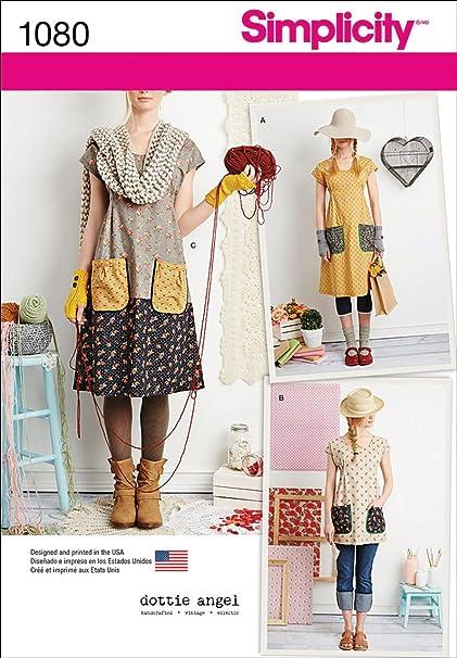 d350d7591 Simplicity Pattern 1080 Misses' Dress or Tunic by Dottie Angel, Size A (XS