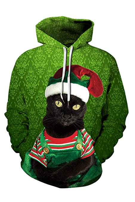 Selowin Women Long Sleeve Drawstring Hoodie Christmas Sloth 3D Printed Pocket Sweatshirt Green M