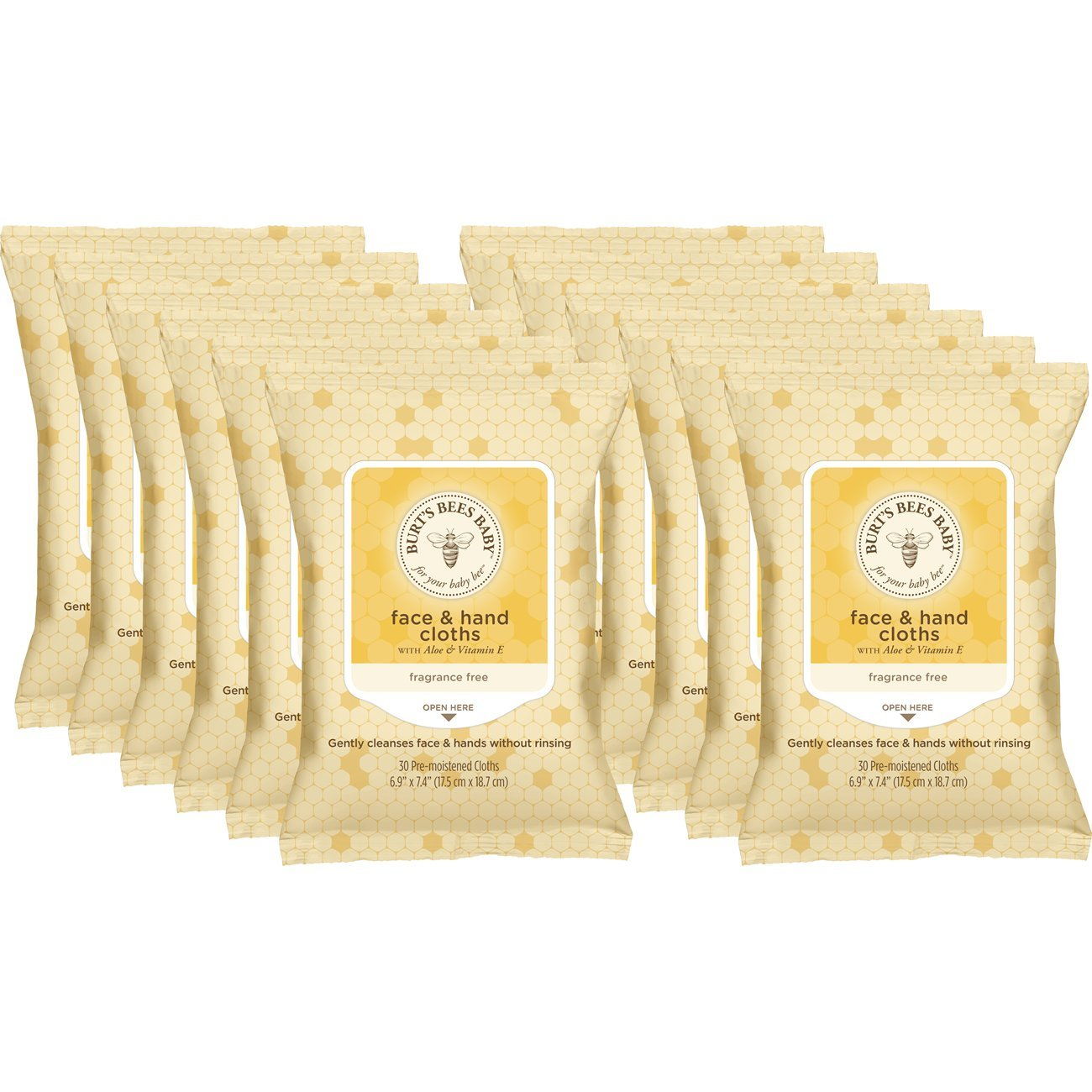 Burt's Bees Baby Face & Hand Cloths, Unscented Cleansing Wipes - 30 Wipes (Pack of 12)