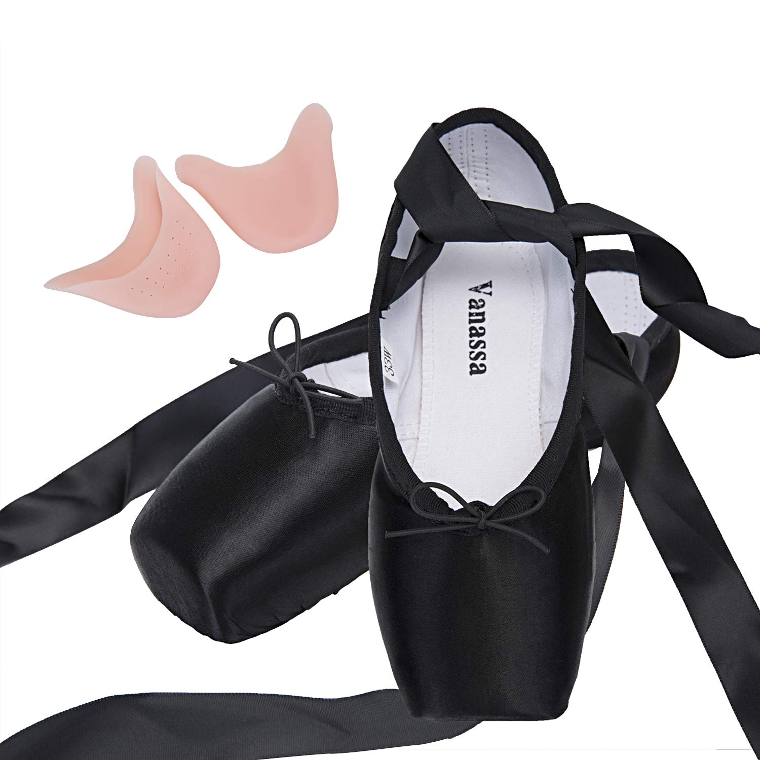 Normal Sole Women Girls Professional Stain Dance Shoe Black /& Red /& Pink Ballet Pointe Shoes with Toe Pads /& Carry Pouch
