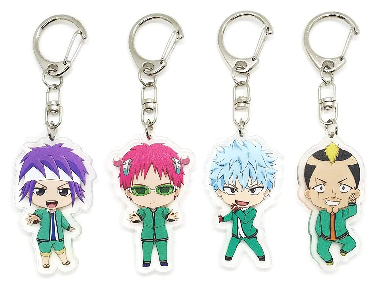 EBTY-Dreams Inc. - Set of 4 The Disastrous Life of Saiki K. Anime Acrylic Keychain Kusuo Saiki, Shun Kaidou, Riki Nendou, Reita Toritsuka