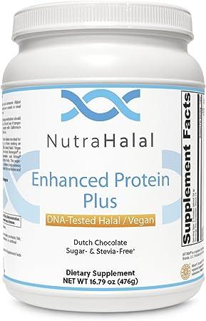 NutraHalal Enhanced Protein Plus Halal DNA Tested Vegan, Sugar and Stevia Free Dutch Chocolate