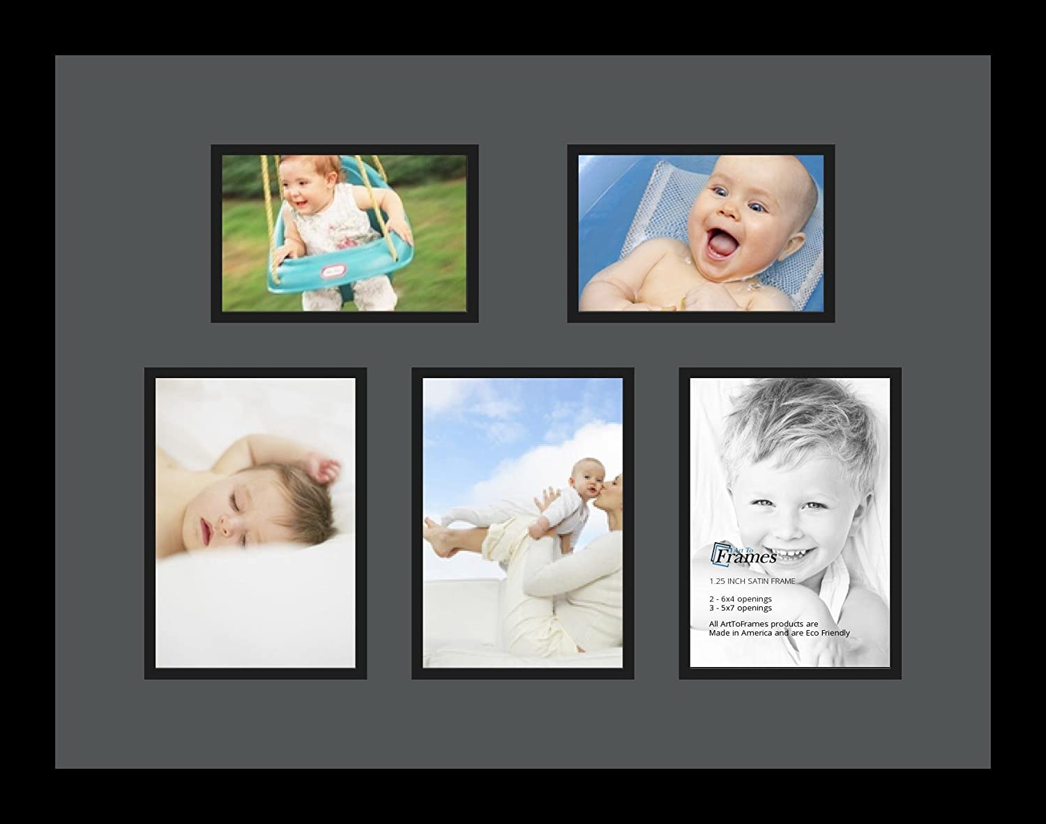 Art to Frames Double-Multimat-1375-41//89-FRBW26079 Collage Photo Frame Double Mat with 2-4x6 and 3-5x7 Openings and Satin Black Frame