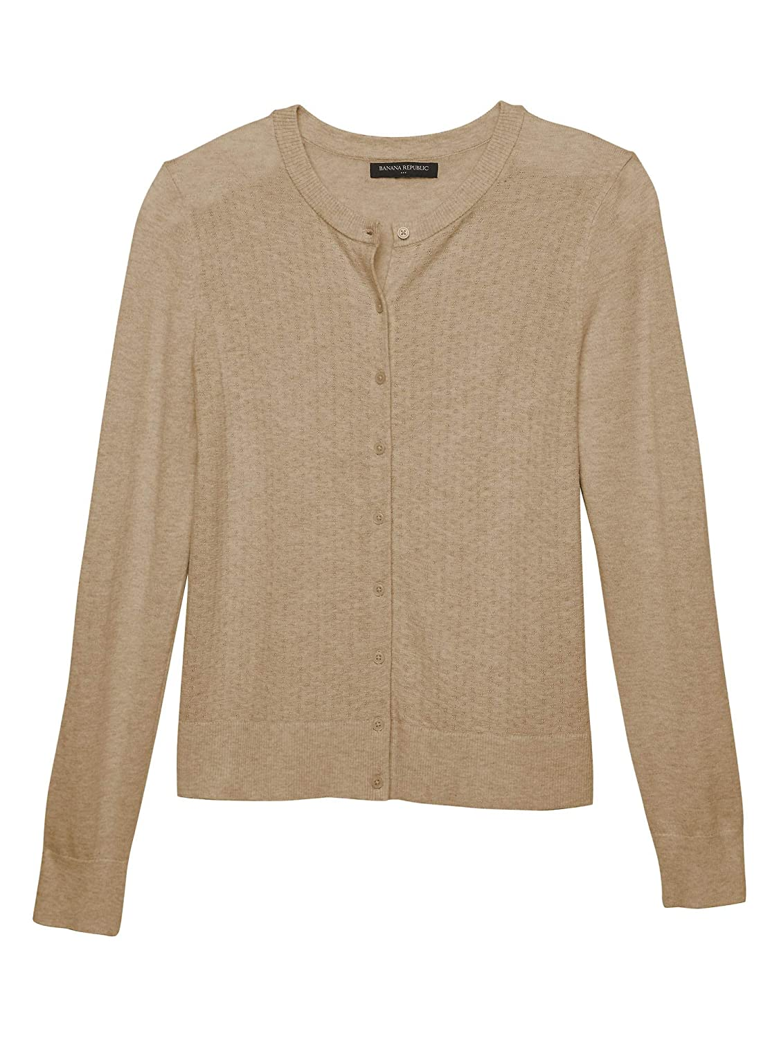 2a5e7fdd1ea Banana Republic Womens 333674 Forever Pointelle Knit Front Cardigan Sweater  Camel Beige (XX-Large) at Amazon Women s Clothing store