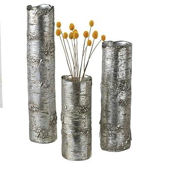 conjunto de decorativo rstico metlico plata rbol tronco jarrones de flores