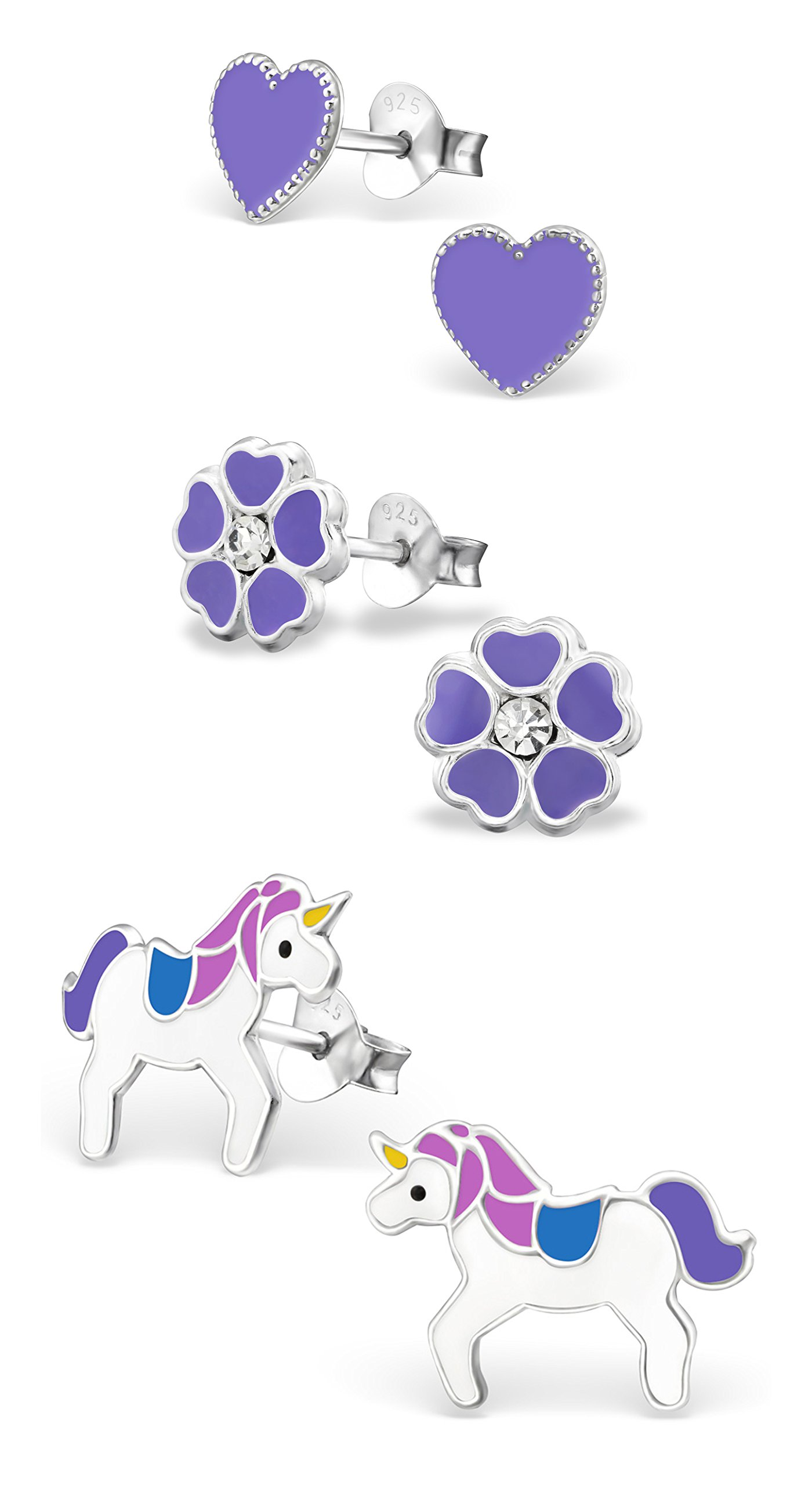 Best Wing Jewelry .925 Sterling Silver Purple Heart, Flower and Unicorn Set Stud Earrings for Children and Teens (3 Pairs)