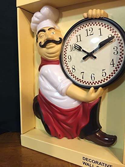 Groovy Amazon Com Unbrand Fat Chef Kitchen Wall Clock Home Kitchen Home Interior And Landscaping Transignezvosmurscom