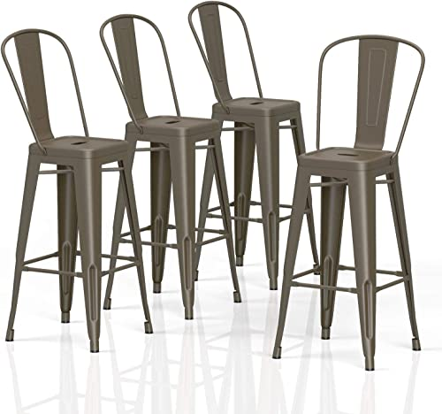 VIPEK 30″ Bar Stools Commercial Grade Patio Metal Bar Chairs 30 Inches Height Barstool