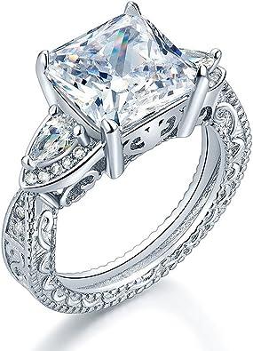 925 Argent Sterling Femme De mariage//Fiançailles Trois Pierres créées Bague Diamant