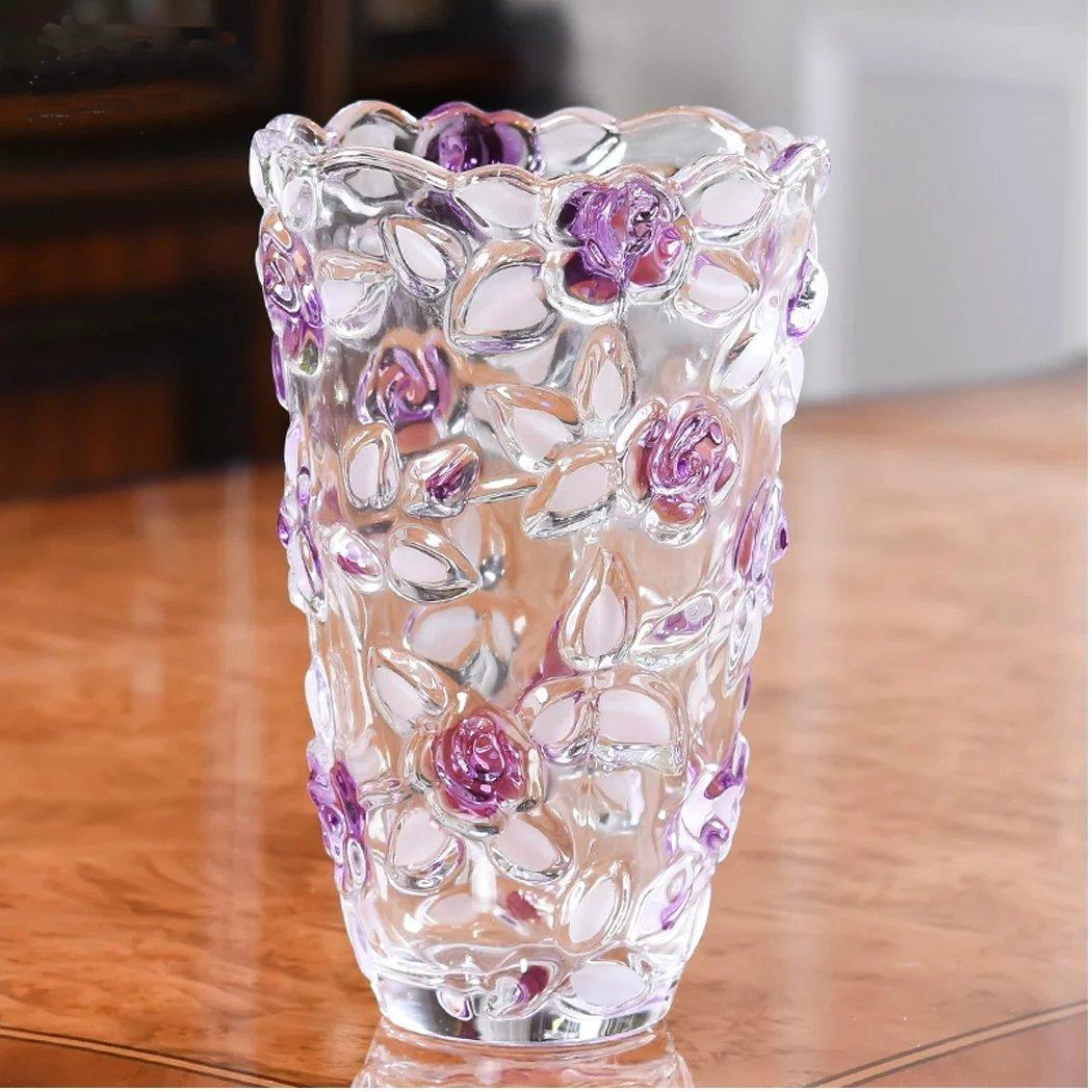 Unusual 花瓶 テーブル フラワーベース おしゃれ 花柄 バラ 花入れ 花びん 花器  ガラスベース 置物 黄色の花 B01KYVQ29C 紫 紫
