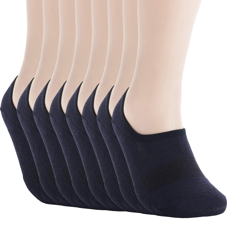 Pro Mountain Unisex No Show Flat Cushion Athletic Cotton Sneakers Sports Socks (M(US Women Shoe 7.5~9.5 = Men 6.5~8.5, size10 Unisex), Navy 8pairs Pack M-size) by Pro Mountain