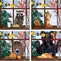 Hearth Time Winter Woodland Animals Assorted Beverage Napkins, Bundle of 4 (20 count each)