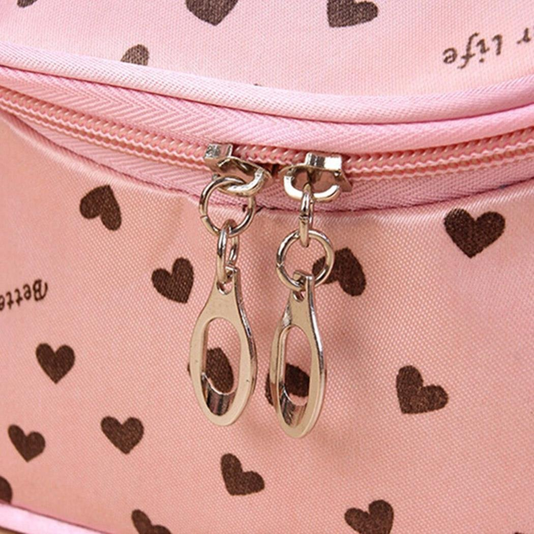 Cnlinkco Cosmetic Bag Makeup Organizer Zipper Handbag Lip Print Travel Toiletry Bags