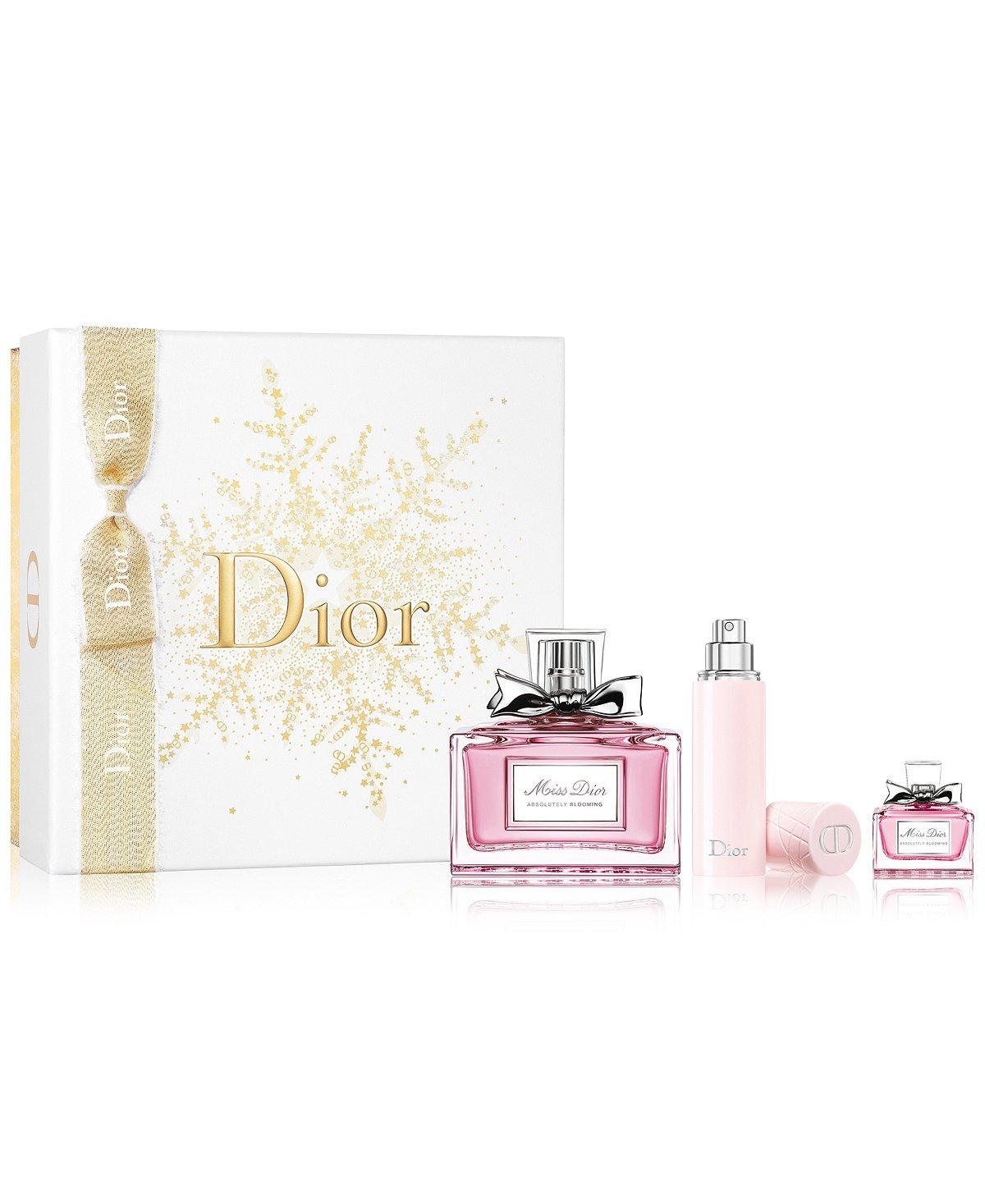 Miss Dior Absolutely Blooming 3-Piece Perfume Gift Set for WOMEN (100 ml EDP Spray, 10 ml Travel Spray, 5 ml EDP Miniature)