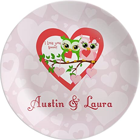 Valentine Owls Melamine Plate (Personalized)  sc 1 st  Amazon.com : custom made dinner plates - pezcame.com