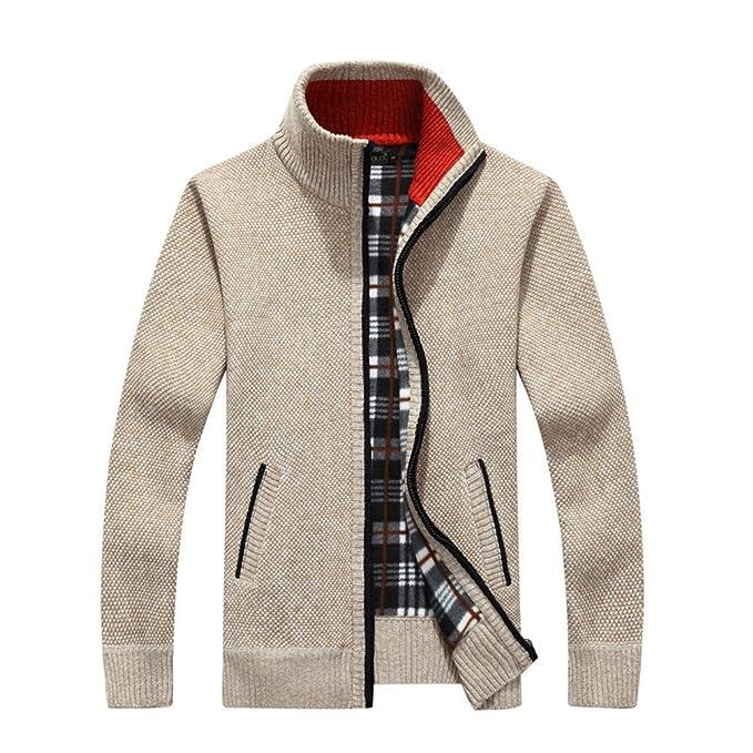 JEELINBORE Cárdigan para Hombre Chaqueta de Punto Jersey de Cuello Alto Suéter Forrado de Fleece con Cremallera: Amazon.es: Ropa y accesorios