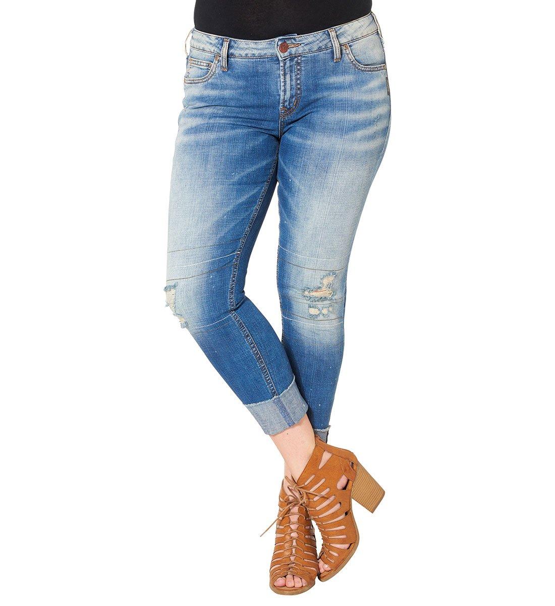 Silver Jeans Women's Plus Size Destructed Girlfriend Jean, Indigo, 20