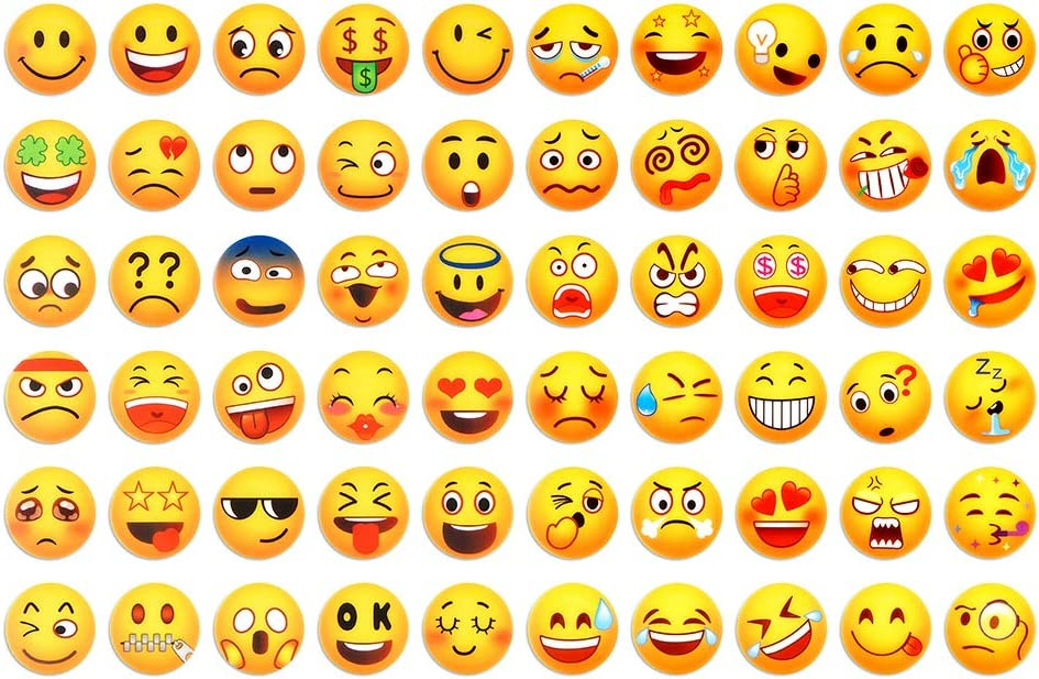 Kids Party Favor Set 60-Pack Emoji Stickers for Water Bottles, Laptop, Phone, Fridge, Travel, Magic Trendy Stickers for Teens, Children,Party Supplies Patches Decal, Reusable and Washable