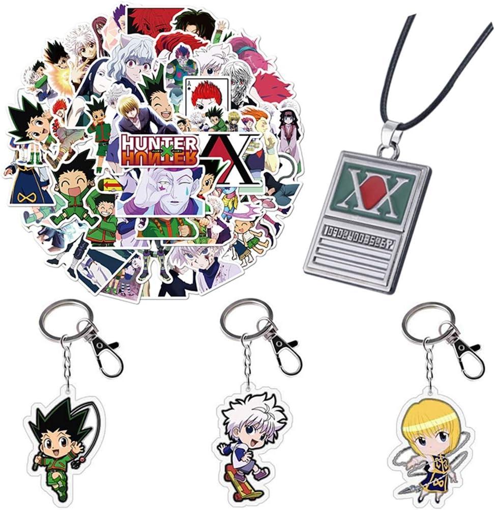 50pcs Anime Stickers 3pcs Keychains 1pcs Necklace Pendant MyPhotoGifts Hunter X Hunter Gifts Set