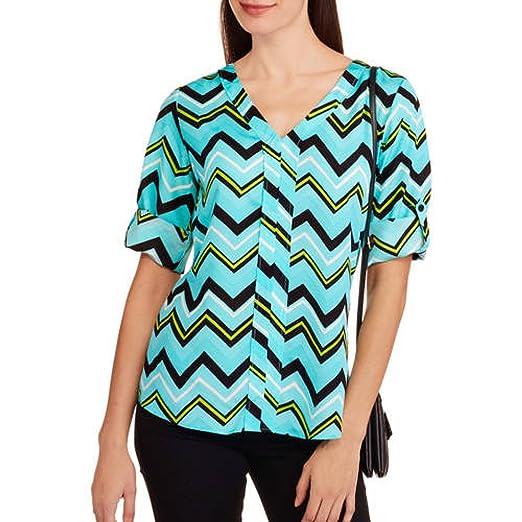 72b4834ea8611c Millennium Women s Sleeve V-neck Popover Blouse With Roll Tab Sleeves  (Medium