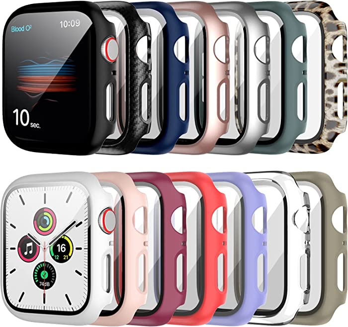 14 Pack Apple Watch Case with Tempered Glass Screen Protector for Apple Watch 40mm Series 6/5/4/SE,RTong Full Coverage Hard PC Protective Cover HD Ultra-Thin Guard Bumper for iWatch 40mm Accessories