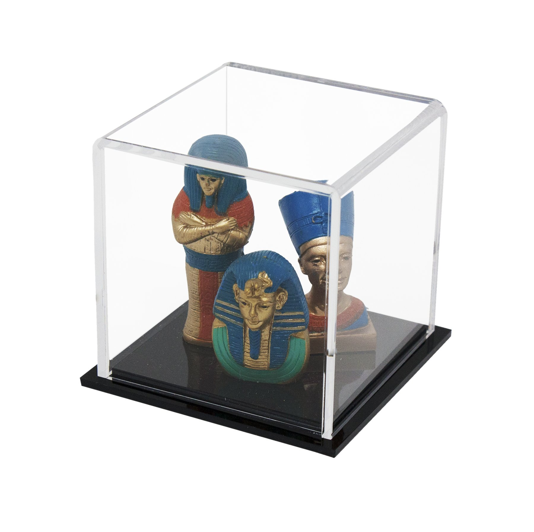 Versatile Acrylic Display Case, Cube, Dust Cover and Riser 3'' x 3'' x 3'' (A046-DS)