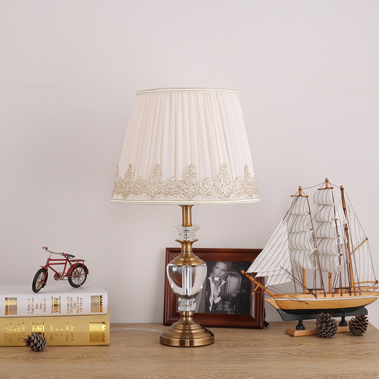 Garwarm Crystal Flower Table Lamps For Living Room Bedroom,3050CM/11.819.6 Inch WH