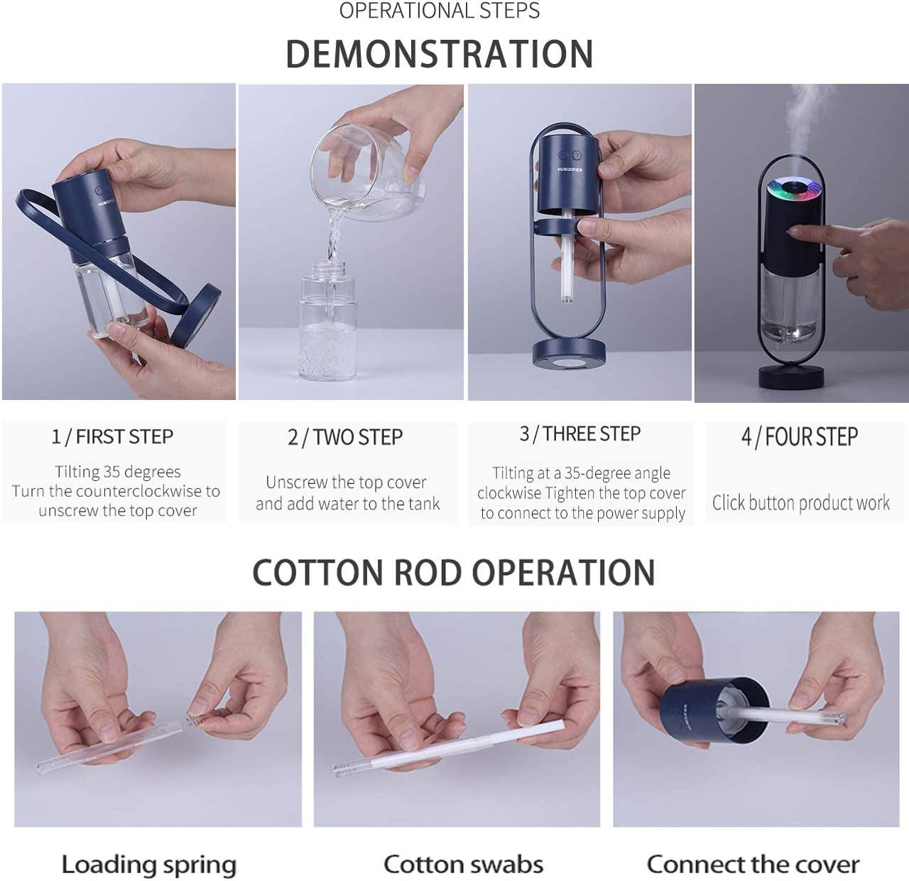 cool mist humidifier-portable mini humidifier with led lights,usb portable air humidifier Ultra-Quiet, Suitable for Babies, Kids, Indoor, Bedroom, Office, Car, Travel White