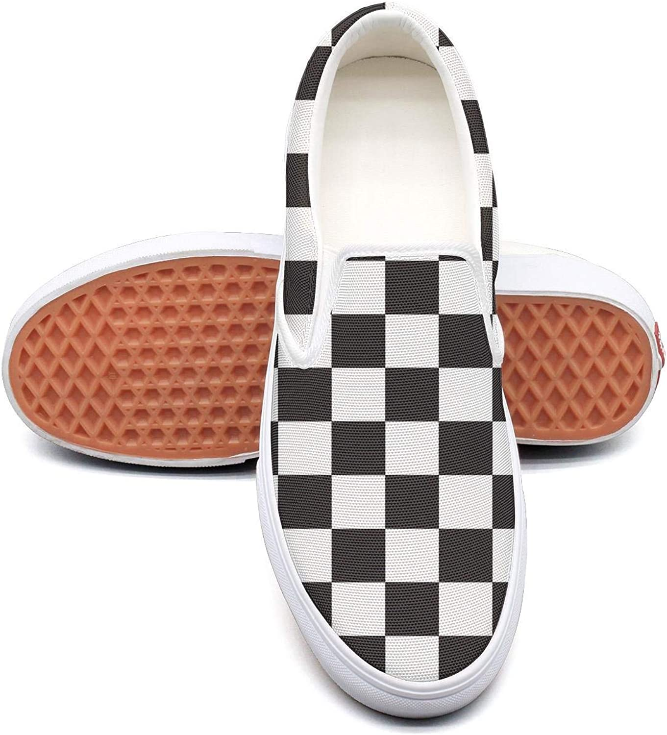Abstract Mosaic Checkerboard Slip on Rubber Sole Sneakers Painted Canvas Shoes Casual Shoe for Women