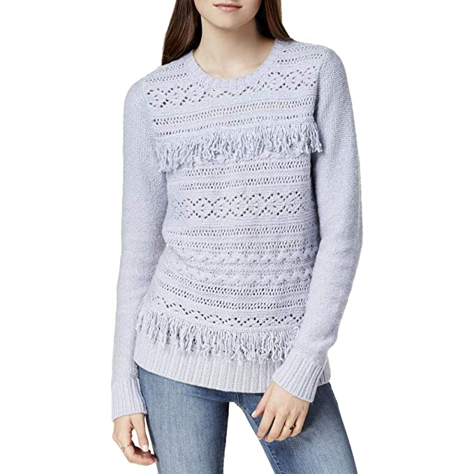 aa4ba83f42e22 Image Unavailable. Image not available for. Color  kensie Womens Fringe-Trim  Cable Knit Pullover ...