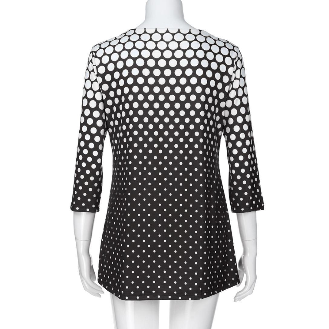 Damen Oberteile Huihong Mode Farbverlauf T Shirt O Ansatz Drei Viertel /Ärmel Polka Dot Druck Tops Bluse Pullover