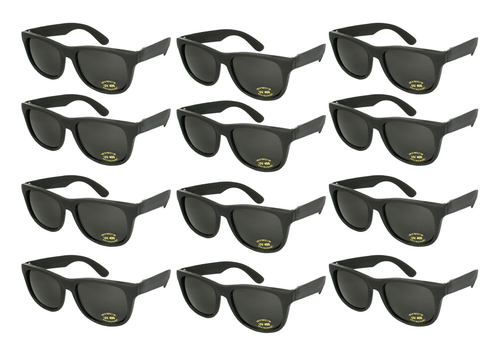 Edge I-Wear 12 Pack ADULT Party Neon Sunglasses CPSIA Certified Lead (Pb) Content Free 100% UV Protection (Made in Taiwan) 5402RA/BLK-12