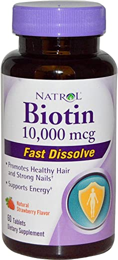 Natrol Biotin Natural Strawberry Flavor 10000 Mcg 60 Tablets