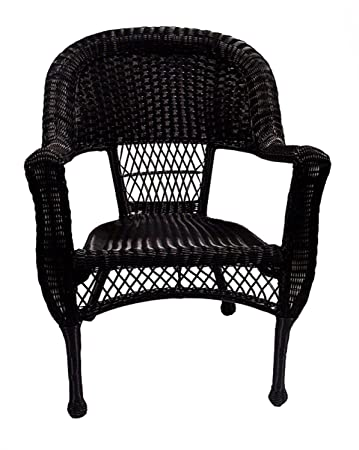 Pack Of 2 Black Resin Wicker Patio Dining Arm Chairs