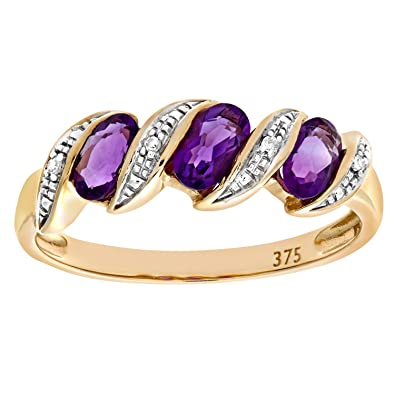 Naava Women's 9 ct White Gold Amethyst and Diamond Flower Ring dinpBtvd