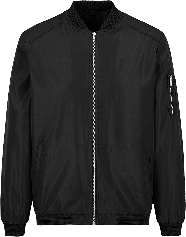 Mens Bomber Jacket Lightweight Casual Coat Slim Varsity Letterman Jacket Long Sleeves