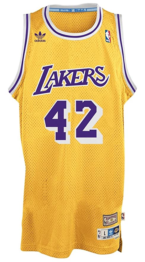 adidas James Worthy Los Angeles Lakers NBA Throw Back Swingman Jersey Camiseta – Gold, Extra