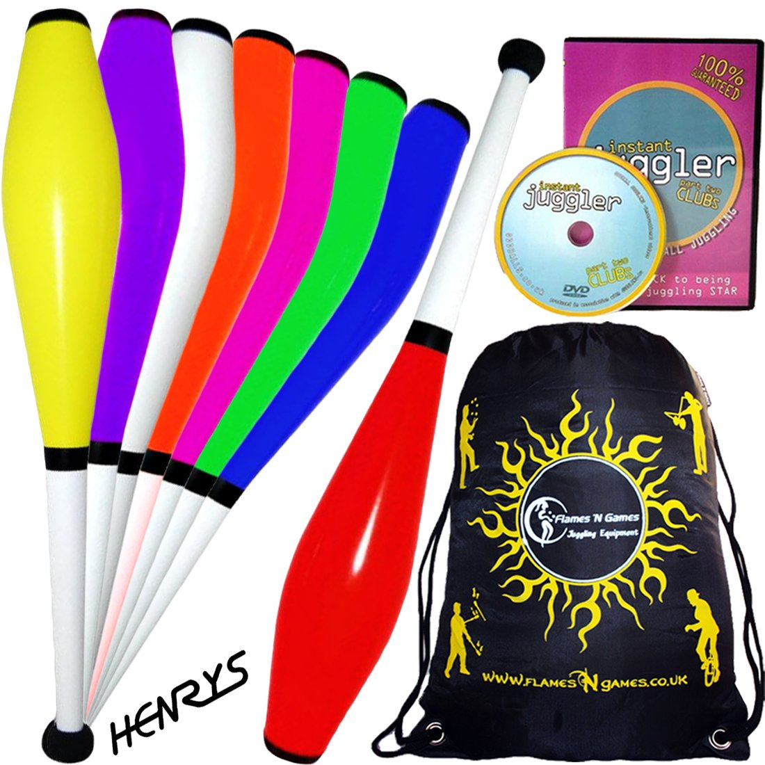 3x HENRYS DELPHIN Pro Juggling Clubs Set of 3 + INSTANT Clubs DVD + Flames N Games Travel Bag! Quality Training Juggling Club Ideal For Number Juggling & Passing! (Yellow) by Flames N Games Juggling Clubs